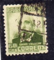 SPAIN ESPAÑA SPAGNA 1931 1934 EMILIO CASTELAR CENT. 60c USED USATO OBLITERE' - 1931-Aujourd'hui: II. République - ....Juan Carlos I