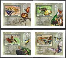 A{014} Sao Tome & Principe 2007 Butterflies Scouts 4 S/S Deluxe MNH** - São Tomé Und Príncipe
