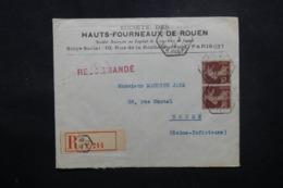 FRANCE - Enveloppe Commerciale De Paris En Recommandé Pour Rouen En 1919, Affranchissement Semeuses - L 44207 - Marcophilie (Lettres)