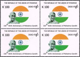 150th Birth Anniversary Of Mahatma Gandhi -BLOCK OF 4- (MNH) - Myanmar (Burma 1948-...)