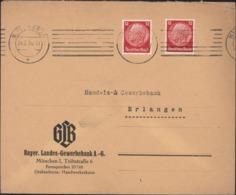 Hindenburg 12 PF Rouge X2 Perforé Perfo BL Enveloppe GLB Bayer Lands Gewerbeban AG CAD Munchen 22  24 2 36 - Deutschland