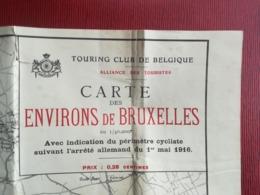 INDICATION PÉRIMÈTRE CYCLISTE SUIVANT ARRÊTÉ ALLEMAND DE 1916 PLAN ENVIRONS BRUXELLES BELGIQUE GUERRE 1914 - 1918 - 1914-18