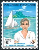 POLYNESIE 1976 - Yv. 107 **   Cote= 15,50 EUR - Alain Gerbault à Bora-Bora  ..Réf.POL24341 - Neufs