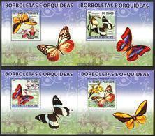 A{034} Sao Tome & Principe 2008 Butterflies Flowers Orchids 4 S/S Deluxe MNH** - São Tomé Und Príncipe
