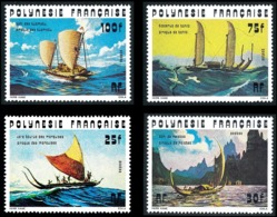 POLYNESIE 1976 - Yv. 111 112 113 114 **   Cote= 23,80 EUR - Bateaux : Pirogues Anciennes (4 Val.)  ..Réf.POL24345 - Neufs