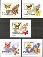 A{050} Sao Tome & Principe 2008 Butterflies 5 S/S Deluxe MNH** - São Tomé Und Príncipe