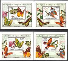 A{093} Comoros 2010 Butterflies 4 S/S Deluxe MNH** - Komoren (1975-...)