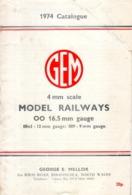 Catalogue GEM George E.Mellor 1974 Model Railways Gauge 00 16,5mm 00n3 9mm - English
