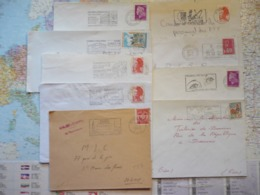 Lot De 9 Flammes D'oblitération Mécanique Différentes De La Région Parisienne Sur Lettres Entières 1965-1988 - Marcophilie (Lettres)