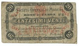 20 CENTESIMI BIGLIETTO FIDUCIARIO SOCIETÀ OPERAIA DI MODENA 1868 QBB - Altri