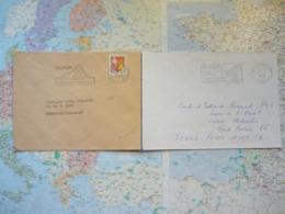 2 Flammes D'oblitération Mécanique Différentes De Belfort Sur Lettres Entières 1965-1988 - Marcophilie (Lettres)