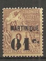 MART - Yt. N° 7  (*)  01c S 2c   Surchargés  Cote  5 Euro  BE 2 Scans - Martinique (1886-1947)