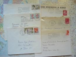 Lot De 6 Flammes D'oblitération Mécanique Différentes De L'Yonne Sur Lettres Entières 1965-1988 - Marcophilie (Lettres)