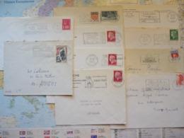 Lot De 10 Flammes D'oblitération Mécanique Différentes Du Var Et Du Vaucluse Sur Lettres Entières 1965-1986 - Marcophilie (Lettres)