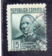 SPAIN ESPAÑA SPAGNA 1935 CONCEPTION ARENAL CENT. 15c USED USATO OBLITERE' - 1931-Tegenwoordig: 2de Rep. - ...Juan Carlos I