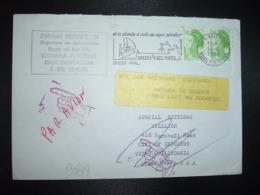 LETTRE TP LIBERTE 2,00 Paire OBL.MEC.14-5 1983 29 N BREST PPAL NORD FINISTERE + VIGNETTE RETOUR USA + MAIN - 1961-....