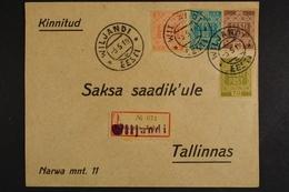 Estland, MiNr. 1-4, Not-R-Zettel Wiljandi, Gefälligkeitsbeleg - Estland