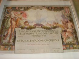 DIPLOMA ESPOSIZIONE INTERNAZIONALE DELLE INDUSTRIE E DEL LAVORO TORINO 1911-DIPLOMA DI MENZIONE ONOREVOLE - Diploma's En Schoolrapporten