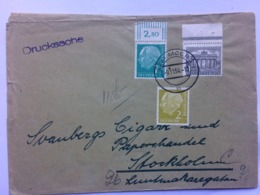 GERMANY 1954 Cover Moers To Stockholm Sweden With Drucksache Cachet - Lettres & Documents
