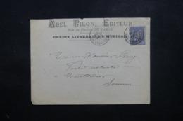 FRANCE - Enveloppe Commerciale De Paris Pour Montdidier En 1877, Affranchissement Sage - L 44264 - Marcophilie (Lettres)