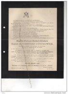 Eugène De Radzitzky D'Ostrowick °Malines 1855 + 12/7/1912 Rumst De Pierpont De Meester De Betzenbroeck De Schaetzen - Avvisi Di Necrologio