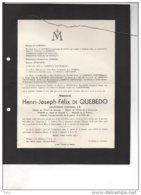 Henri De Quebedo Lieutenant Colonel E/R Medaille 14-1 °1861 + 12/4/1940 Namur SAlzinnes De Lamberts Cortenbach De Theux - Avvisi Di Necrologio