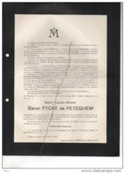 Gaston Baron Pycke De Petegem + Chateau Nouvelles 24/8/1933 De Fierlant Dormer De Robiano D'Huart D'Oultremont - Avvisi Di Necrologio