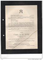 Charles De Le Hoye Née Van Put °Anvers 1876 + 1/12/1948 De Wasseige Parmentier De Burlet Moeau De Melen Libbrecht - Avvisi Di Necrologio