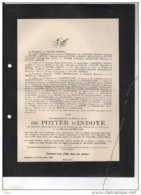 Isabelle De Potter D'Indoye Soeur Des Filles Charité Maison De Bethanie °Gand 1865 + 23/12/1927 Kluizen Evergem Goethals - Avvisi Di Necrologio