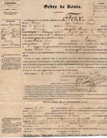 VP15.835 - BRIVE X TULLE 1876 - Ordre De Route Du Soldat P. FEIX à LOSTANGES Affecté Au Rgt D'Artillerie à ANGOULEME - Documents