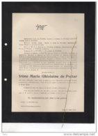 Irène De Potter °1845+Anvers 14/12/1905 Zwijnaarde D'Indoye De Bay De Wouters D'Oplinter Van Tieghem De Ten Berghe - Avvisi Di Necrologio