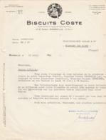 Biscuits COSTE VOIR ZOOM 23 Bd Barry Marseille Lettre De 1956 Pour Visite De L'Inspecteur Général P. Berengier - Levensmiddelen