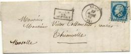 1382) N°14Ad Bleu Sur Vert Lettre De Nancy Du 22 Avril 61 Pour Thionville TTB - Poststempel (Briefe)