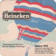 UNUSED BEERMAT - HEINEKEN LAGER (AMSTERDAM, HOLLAND) - HENRY VIII BALLOON - (Cat No 040) - (1974) - Bierdeckel