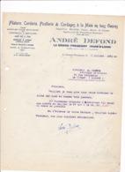 Courrier 1931 Filature Corderie André Defond, Le Grand-Pressigny, Indre-&-Loire - Frankreich
