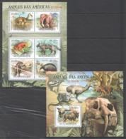 B181 2012 MOZAMBIQUE MOCAMBIQUE FAUNA ANIMALS ANIMAIS DAS AMERICAS EXTINTOS 1SH+1BL MNH - Stamps