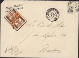 Enveloppe Franchise Caja Postal De Cihorros Orense 6 Jui 59 Vignette Mutualidad Postal Timbre De Adquisicion Voluntaria - 1951-60 Lettres