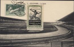 Sur CPA Colombes Le Stade Vignette VIIIe Olympiade Jeux Olympiques JO Paris 1924 YT 183 Serment Olympique CAD 25 9 24 - Storia Postale