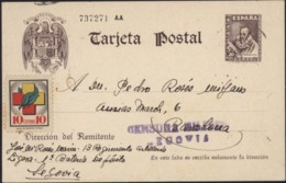 Entier Cervantes Espana Vignette Hijos Fournier Vitoria Censura Militar Segovia 28 Av 39 13e Régiment Artillerie Légère - Entiers Postaux