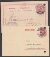 """Ganzsachen P 7 Und P 16, Je Bedarf """"Constantinopel"""", Beide Aktenlochung - Deutsche Post In Der Türkei"""