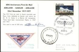 60 Years First Sth Australia Air Mail Adelaide Gawler CAD 23 NOV 77 Illustré Vignette Avion Signature Pilote YT 620 - Briefe U. Dokumente