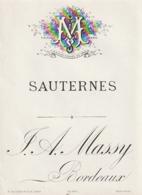 **  étiquette ***  SAUTERNES Certainement  Avant 1900 - Maison  Massy Bordeaux TTB - Bordeaux