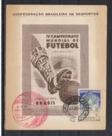 RARETÉ - VERY RARE : CARTE OFFICIELLE DE LA CBD DE LA CONFÉRENCE DE SAO PAULO DU 24 JUIN 1950 - Fußball-Weltmeisterschaft