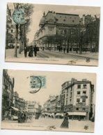42 ST SAINT ETIENNE 2 Cartes Timbrées 1904 Tireur Cariole Place Du Peuple Anim Rue Préfecture    D14 2019 - Saint Etienne