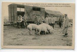 56 COETQUIDAN GUER Prisonniers Allemands Débarquant Cochons Train En Gare  Guerre Européenne 1914- 15  D14 2019 - Guer Coetquidan