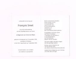 FRançois Smet.vrijwilliger Koreakrieg.Antwerpen 13.11.1928.Hoboken 7.9.2010 - Avvisi Di Necrologio