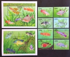 # Uganda 1991**Mi.873-82  Local Fish , MNH  [20;24] - Peces