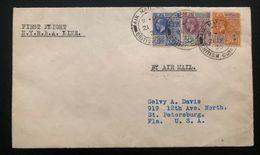 1930 British Guiana First Flight Cover FFC To St Petersburg FL USA NYRBA Line - British Guiana (...-1966)