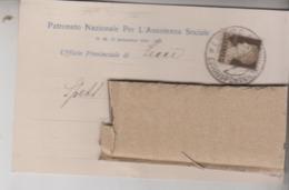 STORIA POSTALE  1934 LECCE PATRONATO NAZIONALE PER L'ASSISTENZA SOCIALE - 1900-44 Vittorio Emanuele III