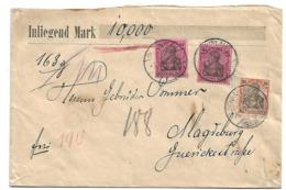 KaiserreichXX004 / Germania 80 Pfg. (2 X) + 30 Pfg. (Mi.Nr. 93 I + 89 I) Aud Wertbrief Mit 10000 Reichsmark Als Inhalt, - Allemagne